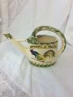 VINTAGE FRENCH POTTERY WATERING CAN 1920-1930'S HAND DECORATED WITH COCKEREL