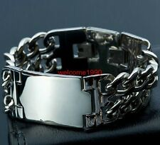 Curb Chain Bangle 22mm 9 inch Men's Silver Stainless Steel Id Bracelet Double