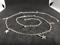Long Silver Tone Necklace With 8 Stars 63cm / 24""