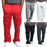Men Cargo Pockets Sweat Pants Casual Loose Trousers Solid Color Sports Pants
