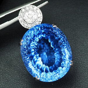 TOPAZ SWISS BLUE CONCAVE OVAL 46 CT. SAPP 925 STERLING SILVER PENDANT GIFT WOMEN
