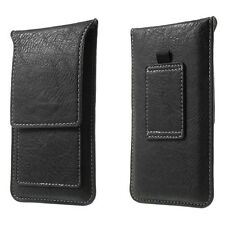 Universal Mobile Phone Vertical Leather Belt Loop Card Slot Case Pouch Cover HTC Desire 826 626s 620 Black