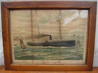 RARE A. HOEN ANTIQUE FRAMED PRINT OF THE STEAMSHIP HOWARD ~ NAUTICAL ~ MARITIME