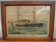 Rare A. Hoen Antique Framed Print Of The Steamship Howard ~ Nautical ~ Maritime