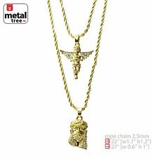 "Men's 14k Gold Plated Angel & Jesus 22""&27"" Combo Pendant Necklace MHC 207 G"