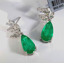 18k White GOLD EMERALD & DIAMOND Dangle Earrings - E3776