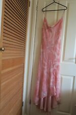MONSOON pink floral floaty chiffon type asymmetric dress weddings races size 12