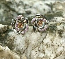 Clogau Silver & Rose Gold Rose Pink Sapphire Earrings £110 off! **RARE**
