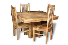 LIGHT MANGO 120CM CUBE DINING TABLE & 4 MANGO CHAIRS (H32L&4H21L)