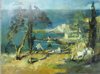 Ölgemälde Sándor Wrábel ( 1926 - Budapest - 1992 ) NARDÒ Apulien Italien