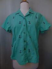 Oleg Cassini Button Down Shirt Mint Green Anchor Embroidered Medium #1812