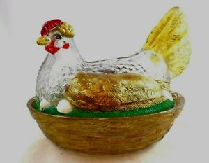 "Glass Hen on Nest covered Dish 7"" Barnyard Chicken MARRIAGE Atterbury & ?"