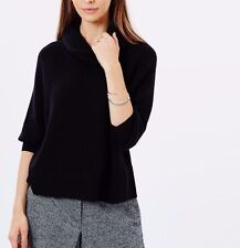 Karen Millen Luxury Wool Knit Cowl Neck Black Rib Jumper Top Sweater 8 36 £115