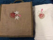 Embroidered Jute Bag And Bath Sheet Towel With Matching Embroidery.