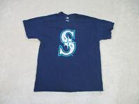 Seattle Mariners Shirt Adult Large Blue Green MLB Baseball Cotton Mens *