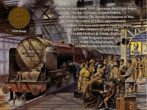 London Starts To  Evacuate At The Start Of The War  1939  Penny Metal Plaque