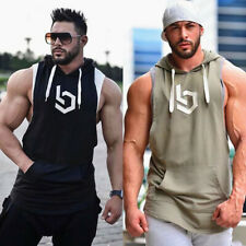 Men Sleeveless Hoodie Hooded Workout Gym Training Tank Top Running Bodybuilding