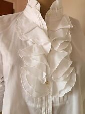 J. Crew Top Blouse White long sleeve cotton Size 8, EUC