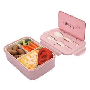1400ML Brotdose Kinder Bento Boxes 3 Fächer Frühstücksbox mit Trennwand, Rosa