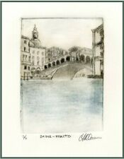 RIALTO BRIDGE Venice -Original ETCHING Limited-Edition Numbered Signed Art Print