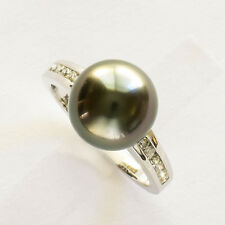 TAHITIAN PEARL DIAMOND RING 10.9mm CULTURED PEARL 14K WHITE GOLD SIZE M1/2 NEW