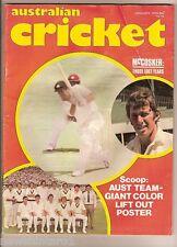 #TT.  JANUARY 1976  AUSTRALIAN CRICKET MAGAZINE - GIANT TEAM POSTER