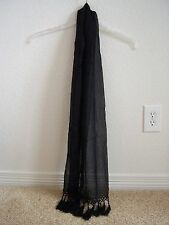 women's black sheer scarf with delicate beading and tassels on the ends