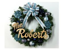 Christmas Wreath Blue, Personalized Christmas Wreath, Handmade