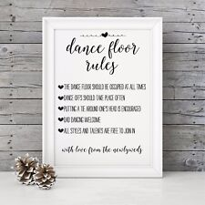Brown Vintage/Rustic A3 'Dance Floor Rules' sign for weddings, UNBACKED unframed