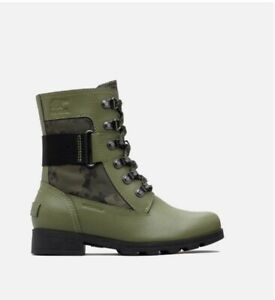 Sorel Women's Emelie Conquest Waterproof Boot Green/Olive Green 4M US