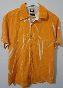 KENZO Homme Short Sleeve Shirt Tangerine Orange Button Down Men's Large / L