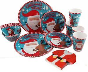 🔥 Christmas Santa Reindeer 16 Piece Melamine Plate Cup Bowl Dinner Napkin Set