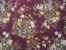 """Vintage Plum Floral Silky Dress Sewing Fabric - Scant 2 yds X 58"""""""