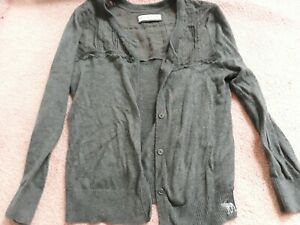 Women's Abercrombie & Fitch Gray Lace Cropped Cardigan Sweater Size Medium M