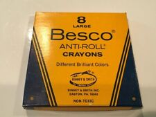 Vintage Besco Anti-Roll Crayons 8 Primary Colors Big Size Crayon G