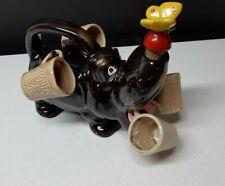 New listing Hippopotamus Decanter with 4 Shot Glasses Vintage Japan Rare