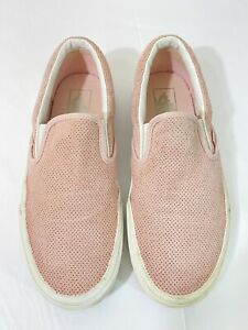Vans Classic Slip On Suede Leather 7.5 Men's Size 9 Women's Shoes Sneakers Pink