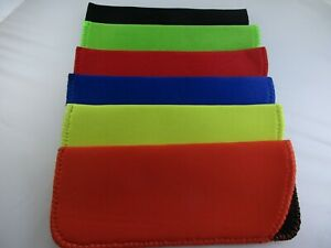 ~LOT of 6~ One of each color shown  Neoprene Eyeglass Reading Glass Cases Pouch