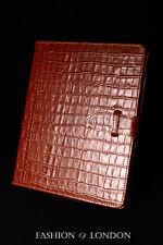 iPad 2 3 & 4 (Tan Crocodile) Real Leather Croc Print Cover Case Stand Folio