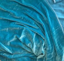 "Silk VELVET Fabric TURQUOISE BLUE fat 1/4 18""x22"" remnant"
