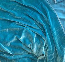 "Silk VELVET Fabric TURQUOISE BLUE 9""x22"" remnant"