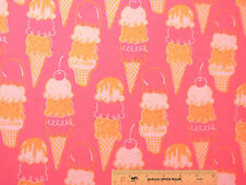 Ice Cream Cones on Pink Girl Girls Womens Flannel Fabric  BTY (J7) +