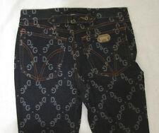 DOLCE & GABBANA D&G Blue Signature Logo Low Rise Boot Cut Jeans Cinch Back 27 34