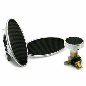 Oval Floor Mount Gas Pedal, Lg Oval Brake Pad and Dimmer Pad   Chromed Billet