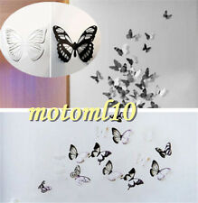 18pcs Pretty 3D Black&White Butterfly Crystal Decor Wall Stickers Decals Mo
