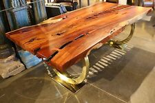 "86"" L Dining table makha wood smooth top slab steel base brass finish polished"