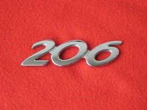 1 Original Schriftzug 206 v. Peugeot Emblem Zeichen Logo Typenschild Heck