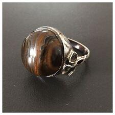 Pompöser Silberring mit rundem Tigerauge 925er Sterling Silber Ring Gr.66