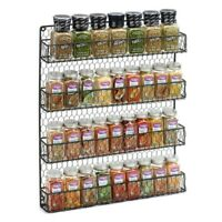 Spice Rack Organizer Metal 4 Shelves Wall Mount Pantry Kitchen Storage Herbs