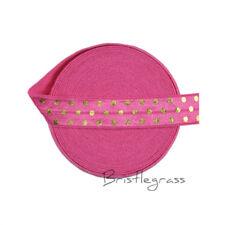 "5 Yard 5/8"" Gold Polka Dot Foil Print Hot Pink Foldover Elastic FOE Spandex Band"